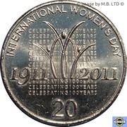 20 Cents - Elizabeth II (4th Portrait - International Women's Day) -  reverse