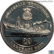 20 Cents - Elizabeth II (4th Portrait - Merchant Navy) -  reverse