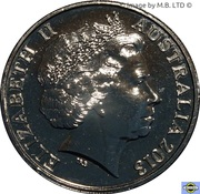 20 Cents - Elizabeth II (4th Portrait - Centenary of Australian Banknotes - 10 Shilling) -  obverse