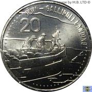 20 Cents - Elizabeth II (4th Portrait - Gallipoli Landing) -  reverse