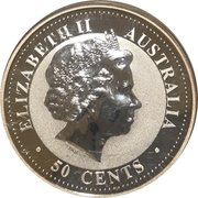 "50 Cents - Elizabeth II (4th Portrait - ""Lunar Year Series"" Silver Bullion Coinage) -  obverse"