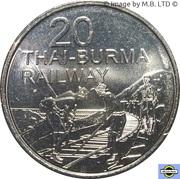 20 Cents - Elizabeth II (4th Portrait - Thai-Burma Railway) – reverse