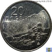 20 Cents - Elizabeth II (4th Portrait - Dogs at War) – reverse