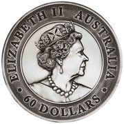 60 Dollars - Elizabeth II (6th Portrait - Kookaburra - Silver Antiqued) -  obverse