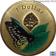 1 Dollar - Elizabeth II (4th Portrait - Cairns Birdwing) -  reverse