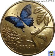 1 Dollar - Elizabeth II (4th Portrait - Bright Bug Series - Ulysses Butterfly) -  reverse