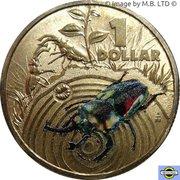 1 Dollar - Elizabeth II (4th Portrait - Bright Bug Series - Stag Beetle) -  reverse