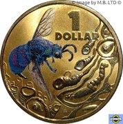 1 Dollar - Elizabeth II (4th Portrait - Bright Bug Series - Cuckoo Wasp) -  reverse
