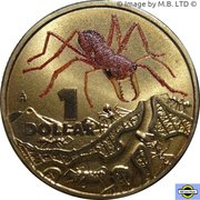 1 Dollar - Elizabeth II (4th Portrait - Bright Bug Series - Red Bull Ant) -  reverse