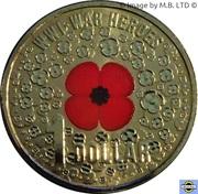 1 Dollar - Elizabeth II (4th Portrait - WW1 War Heroes Red Poppy) -  reverse