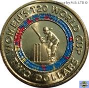 2 Dollars - Elizabeth II (6th Portrait - Womens T20 Cricket World Cup) -  reverse