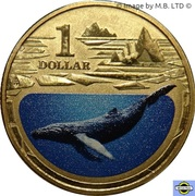 1 Dollar - Elizabeth II (4th Portrait - Polar Series - Humpback Whale) -  reverse