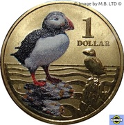 1 Dollar - Elizabeth II (4th Portrait - Polar Series - Atlantic Puffin) -  reverse