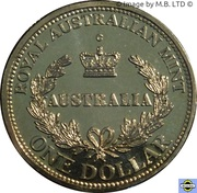 1 Dollar - Elizabeth II (4th Portrait - Australia's First Mints) -  reverse