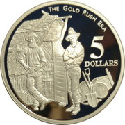 5 Dollars - Elizabeth II (3rd Portrait - The Gold Rush Era - Masterpieces in Silver) -  reverse