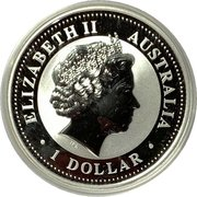 1 Dollar - Elizabeth II (4th Portrait - Year of the Rooster - Silver Gilded Coin) -  obverse