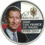 1 Dollar - Elizabeth II (4th Portrait - HRH The Prince of Wales 60th Birthday) – reverse
