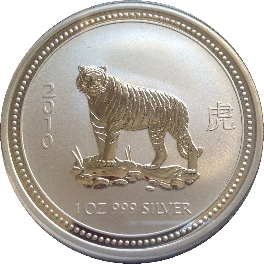 France 2010 Tiger 5 euros Silver Proof € France Tiger