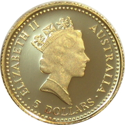 5 Dollars - Elizabeth II (3rd Portrait - Common Walleroo - Gold Proof) -  obverse
