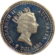 5 Dollars - Elizabeth II (3rd Portrait - Koala - Platinum) – obverse