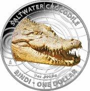 1 Dollar - Elizabeth II (4th Portrait - Saltwater Crocodile - Silver Proof) -  reverse