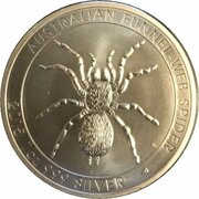 1 Dollar - Elizabeth II (4th Portrait - Australian Funnel-Web Spider - High Relief Proof) -  reverse