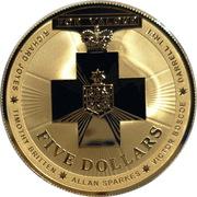 5 Dollars - Elizabeth II (4th Portrait - Australian Bravery Medal - Silver Gilded) -  reverse