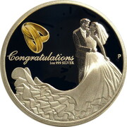 1 Dollar - Elizabeth II (4th Portrait - Wedding - Silver Proof) -  reverse