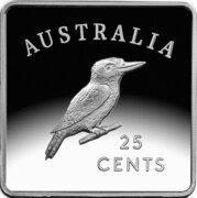 25 Cents - Elizabeth II (4th Portrait - Kookaburra 1919 Pattern - Silver Proof) -  reverse