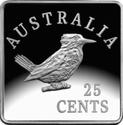 25 Cents - Elizabeth II (4th Portrait - Kookaburra 1920 Pattern - Silver Proof) -  reverse