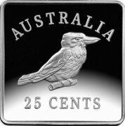 25 Cents - Elizabeth II (4th Portrait - Kookaburra 1921 Pattern - Silver Proof) -  reverse