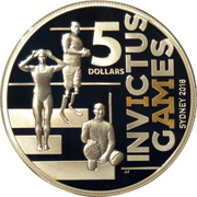 5 Dollars - Elizabeth II (4th Portrait - Invictus Games Sydney 2018) -  reverse