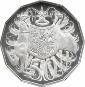50 Cents - Elizabeth II (2nd portrait - Dodecagonal type - Silver Proof) -  reverse