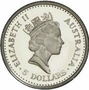 5 Dollars - Elizabeth II (3rd Portrait - Koala - Platinum Proof) -  obverse