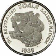 5 Dollars - Elizabeth II (3rd Portrait - Koala - Platinum Proof) -  reverse
