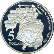 5 Dollars - Elizabeth II (3rd Portrait - Elizabeth Macarthur - Masterpieces in Silver) -  reverse