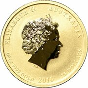 25 Dollars - Elizabeth II (4th Portrait - Year of the Tiger - Gold Bullion Coin) -  obverse