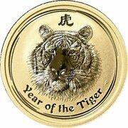 25 Dollars - Elizabeth II (4th Portrait - Year of the Tiger - Gold Bullion Coin) -  reverse