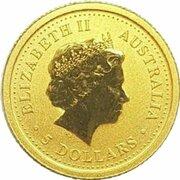 5 Dollars - Elizabeth II (4th Portrait - Kangaroo Gold Bullion Coin) -  obverse