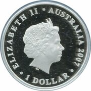 1 Dollar - Elizabeth II (4th Portrait - Diamond Wedding Anniversary - Silver Proof) -  obverse