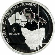 5 Dollars - Elizabeth II (4th Portrait - 150 Years of State Government Tasmania - Silver Proof) -  reverse