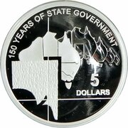 5 Dollars - Elizabeth II (4th Portrait - 150 Years of State Government South Australia - Silver Proof) -  reverse