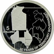 5 Dollars - Elizabeth II (4th Portrait - 30 Years of Territory Government - Silver Proof) -  reverse