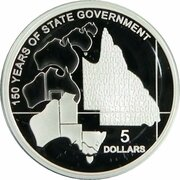 5 Dollars - Elizabeth II (4th Portrait - 150 Years of State Government Queensland - Silver Proof) -  reverse
