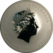 8 Dollars - Elizabeth II (4th Portrait - Year of the Goat - Silver Bullion Coin) -  obverse