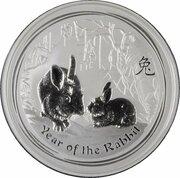 8 Dollars - Elizabeth II (4th Portrait - Year of the Rabbit - Silver Bullion Coin) -  reverse
