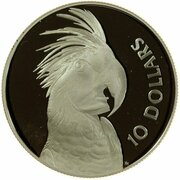 10 Dollars - Elizabeth II (3rd Portrait - Palm Cockatoo - Silver Proof) -  reverse