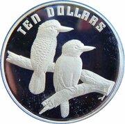 10 Dollars - Elizabeth II (3rd Portrait - Kookaburra - Piedfort) -  reverse