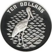 10 Dollars - Elizabeth II (3rd Portrait - Jabiru - Piedfort) -  reverse