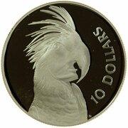 10 Dollars - Elizabeth II (3rd Portrait - Palm Cockatoo - Piedfort) -  reverse